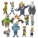 Zootopie Mini Figurines Set,12 Pièces Animal Gâteau Topper Mini Figurine Enfants,Gâteau De Douche Fête D'anniversaire Fête Décoration Cake Toppers pour Enfants Fournitures de Fête D'anniversaire