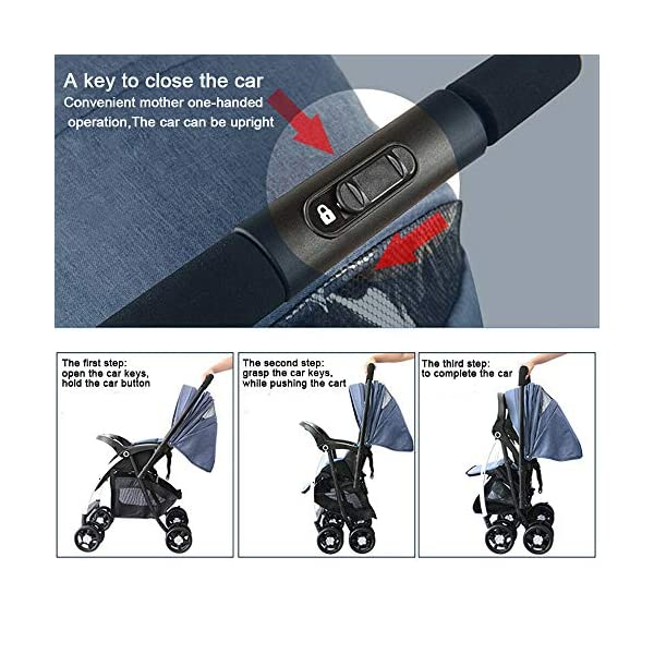 MOMOJA Foldable Baby Stroller Pushchairs 5 Point Harness Max Capacity 25kg (Blue) MOMOJA Easy folding - this pushchair is as easy to fold away as possible - the comfort stroller can be folded with one hand only within seconds, leaving one hand always free for your little ray of sunshine. Long use - this buggy can be used for a very long time; it is suitable From birth (also compatible with 2-in-1 carrycot or comfort fix infant car seat) up to a maximum of 25 kg. Comfortable - backfriendly push handle adjustable in height; backrest and footrest are multi-adjustable, the hood extendable; in addition, the pushchair comes with suspension, swiveling front wheels, soft padding and large shopping basket. 7
