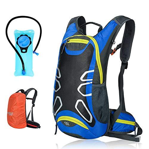 Phy Trinkrucksack Fahrradrucksack Mit 2L Wasserblase Und Regenschutz Zum Laufen Radfahren Radfahren Wandern Klettern Blue