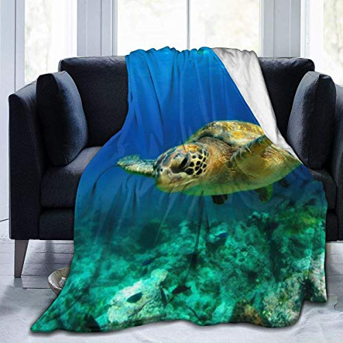 AEMAPE Manta de Microfibra de Felpa Suave para niños, niñas, Mantas para Cama, sofá, sillón, Tortuga Verde en el océano Profundo, 50 x 40 Pulgadas
