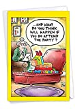 NobleWorks - 1 Funny Birthday Greeting Card with Envelope - Cartoon Art Couch Doctor Patient Session, Psychologist Mental Health - Pinata Therapy C9325BDG