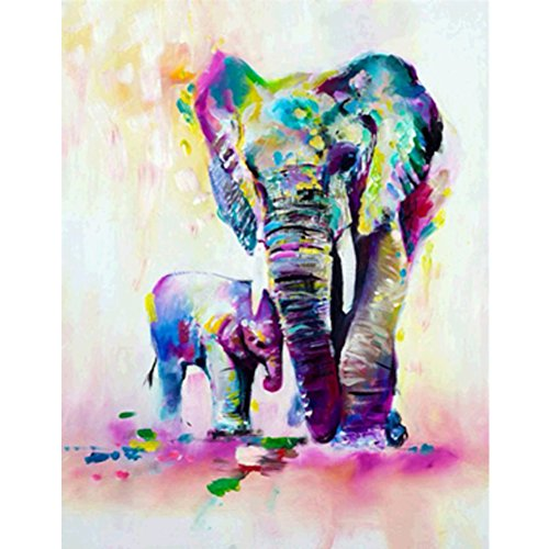 MXJSUA 5D Diamond Painting by Number Kit DIY Crystal Rhinestone Arts Craft Picture Supplies Home Wall Decor Elephant and Her Baby 12x16In