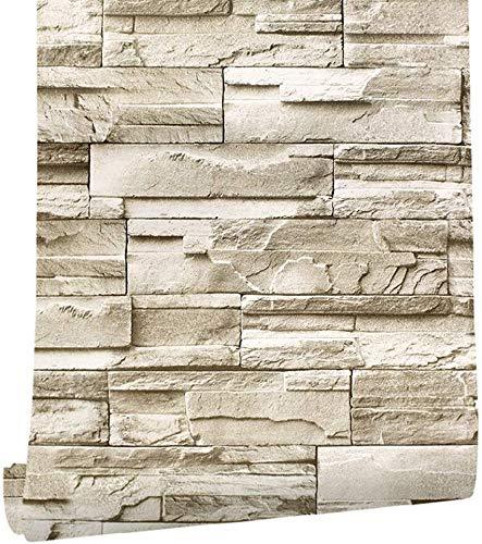 sknonr Tapete Retro Ziegelsteinstifter Aufkleber 3D Selbstkleber 0,45x6m wasserdichte PVC Industrieller Wandkleber Wallboard Wohnzimmer Schlafzimmer Korridor (Color : A, Size : 2 Rolls)