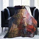 KANKANHAHA ONINAKI - Manta de cama ultrasuave de micro flano con estampado de lujo para sofá, silla, sala de estar, negro, 80'x60'
