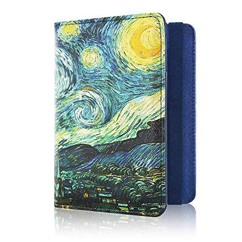 ACdream Passport Holder Cover, Leather Travel Wallet Case, RFID Blocking Document Organizer Protecrtor, with Slots for Credit Cards, Boarding Pass, for Women and Men, Starry Night