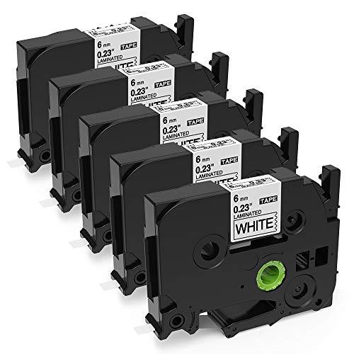 Aken - Cinta de Etiquetas compatible para usar en lugar de Brother P-touch TZe211 Tze-211 6mm Negro sobre Blanco, Tape Cassette para Rotuladoras Ptouch PT 1000 1005 1010 1230 PT-D210 H100LB E550WVP