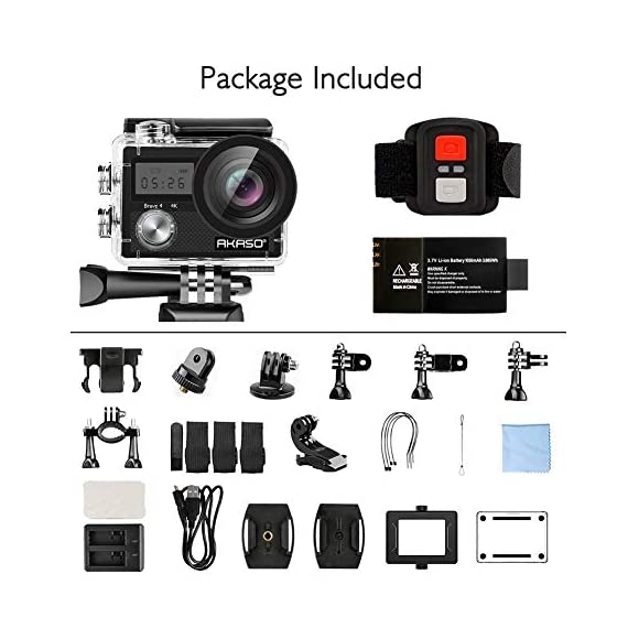 AKASO Brave 4 4K 20MP WiFi Action Camera Ultra HD with EIS 30m Underwater Waterproof Camera Remote Control 5X Zoom… 4 UPGRADE SERIES OF AKASO EK7000: Featuring 4K/24fps, 2K/30fps and 1080P/60FPS video resolution and 20MP photos, AKASO Brave 4 action camera enables you to take incredible photos and ultra HD videos, clearly recording the beauty and wonders in life! OPTIONAL VIEW ANGLE AND ANTI-SHAKING: Adjust the view angle of this action camera according to your needs between 170°, 140°, 110°, and 70°. Built in smart gyroscope for anti-shaking and image stabilization to make your video much more smooth. SPORTS CAMERA WITH WIFI AND HDMI: Sharing & editing videos from an action camera is easier with the free app. Just download the App on your phone or tablet and connect with this action camera. Wi-Fi signal ranges up to 10 meters. With HDMI Port allows you to connect it with television.