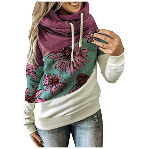 Hotkey Sweatshirts for Women Long Sleeve O-Neck Tops Cute Elephant Baby Sunflower Print Pullover Casual Loose Blouse Shirts