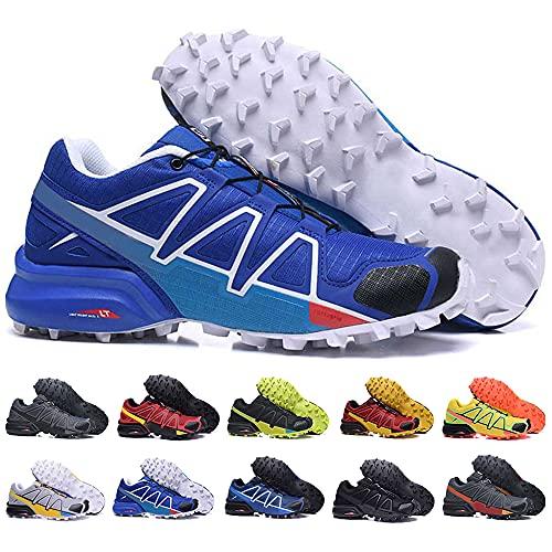 KUXUAN Zapatillas de Ciclismo Hombre Mujer Zapatillas de Senderismo Zapatillas de Running Zapatillas de Caminar - Ligeras y Transpirables,Blue-41