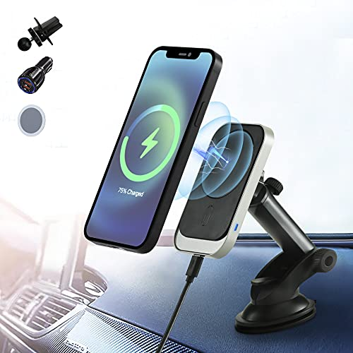 Magnetic Wireless Car Charger for iPhone 12/12 Pro/ 12 Pro Max/12 Mini,15W Fast Wireless Charging Car Mount,Windshield Dashboard Air Vent Car Phone Holder Charger,with QC 3.0 Adapter (Black)