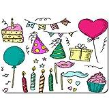 Antideslizante Alfombra De Baño,Handdrawn Set cumpleaños Papel de Regalo Dibujos Animados,Alfombra de Cocina Alfombra Mascota,Alfombras de Ducha 75x45cm