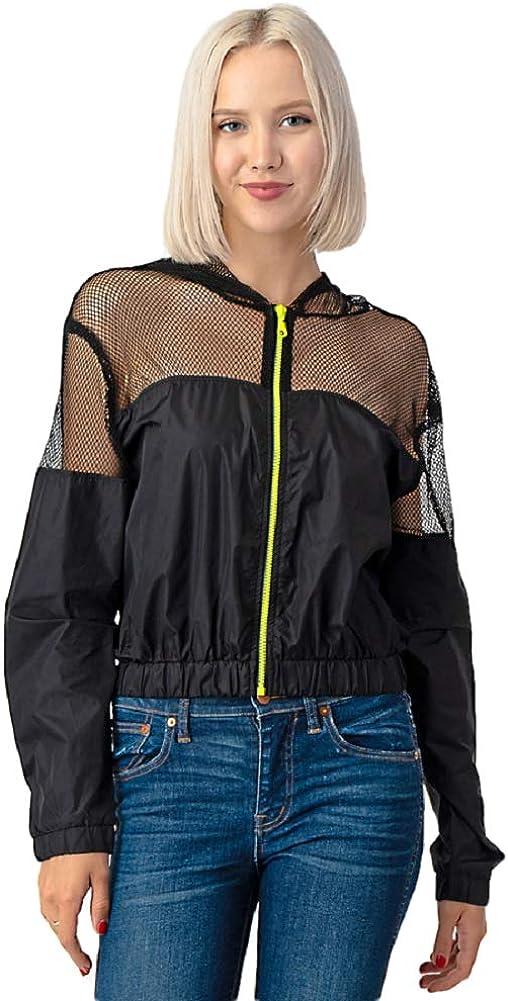 CULTURE CODE Women's Windbreaker Jacket - Casual Long Sleeve Hooded Zip Up Crop Wind Rain Lightweight Zipper Hood Coat