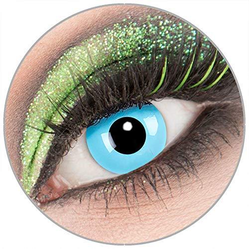 Farbige blaue 'Sky Angel' Kontaktlinsen ohne Stärke 1 Paar Crazy Fun Kontaktlinsen mit Kombilösung (60ml) + Behälter zu Fasching Karneval Halloween - Topqualität von 'Giftauge'