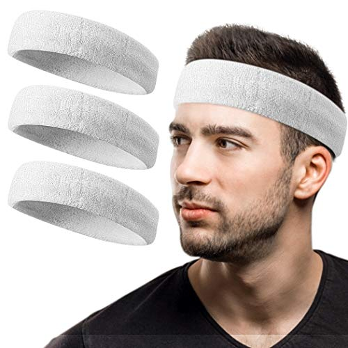 Sport Headbands/Wristbands Sweatband for Men Women,Non-Slip & Sweat Wicking Athletic Sweatband for Basketball, Running, Football, Yoga, Working Out, Tennis Terry Cloth to Keep your Head Dry & Cool