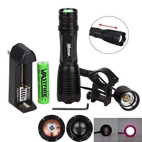 Linternas, 18650 IR Night Vision Flashlgith 5W 940nm 5W 850nm LED Linterna de radiación infrarroja con Zoom Táctica Antorcha de Caza + Montaje de Pistola (Color: Negro, Tamaño: 16.5 * 3.8cm)