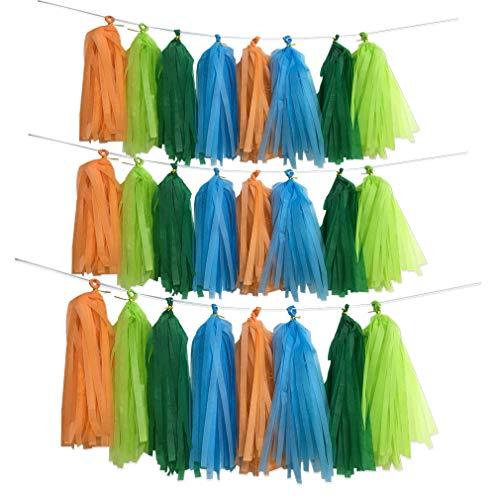 Dinosaur Theme Party Backdrop, 40pcs Jungle Theme Dark Light Green Blue Orange Tassel Banner Garland Tissue Photo Background for Birthday Wedding Bachelorette Baby Shower Party Supplies