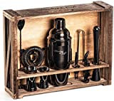 Mixology Bartender Kit: 11-Piece Black Bar Set Cocktail Shaker Set with Rustic Wood Stand...