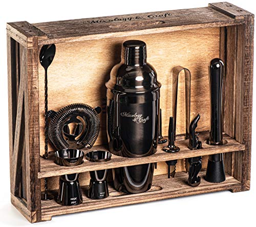 Mixology Bartender Kit: 11-Piece Bar Tool Set with Rustic Wood Stand | Perfect Home Bartending Kit and Cocktail Shaker Set For an Awesome Drink Mixing...
