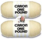 Caron One Pound Yarn - 2 Pack with Patterns (Cream)