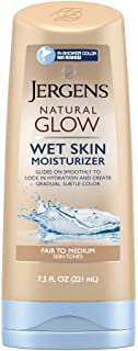 Jergens Natural Glow In-shower Moisturizer, Fair to Medium Skin Tone, 7.5 Ounce Wet Skin Lotion, Locks in Hydration with Gradual, Flawless Color