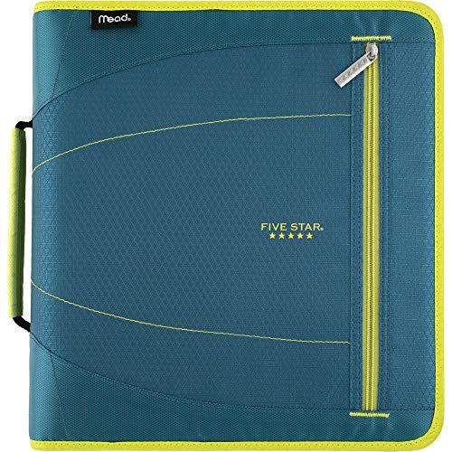 Five Star Zipper Binder, 2 Inch 3 Ring Binder, Removable File Folders, Durable, Teal/Chartreuse (29036IH8)
