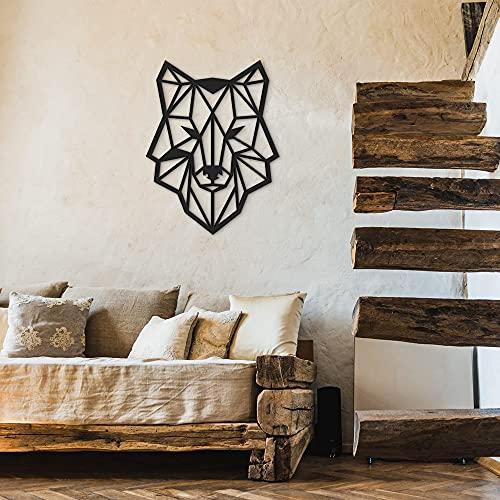 ODUN ARTS - Lobo - Cuadros Decorativos Modernos Elaborados en Madera - Decoración Elegante de Pared - 72 cm Alto X 55 cm Ancho X 1 cm...