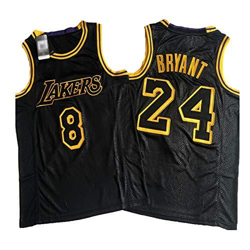 PQMW Kobe # 8 + 24 Jersey, Laker Black Mamba Hombres Camiseta de Baloncesto, Unisex Outdoor Sportswear Performance Tank Tops L(75 ~ 85 kg)