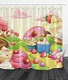 LUODAN Süßigkeitsparadies-Kuchen-EisDekorativer wasserdichter Duschvorhang mit HD-Druck, geeignet für Badezimmer, 12 freie Haken, 180x180 cm