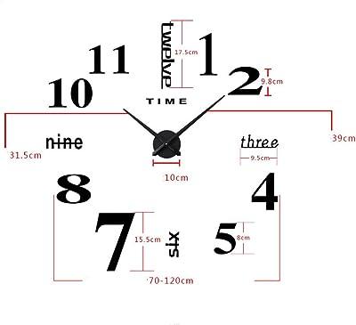 COOCLE 3D Wall Clock Large Metal Frameless Stickers DIY Clock Art Decorative for TV Wall Living