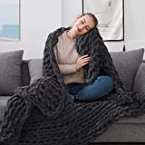 ZonLi Chunky Knit Throw Blanket 60''x 80''-Handmade Large Soft Cable Knitted Chenille for Bed Sofa Boho Fluffy Thick Tightly Woven Blanket (Dark Grey)