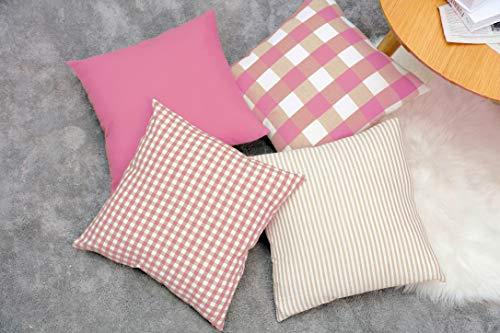 Montanchezz - Set di 4 federe per cuscino, 45 x 45 cm, motivo a righe, stile moderno, consistenza morbida, Unisex - Adulto, Rosa