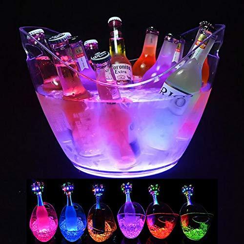 YONG 8L Portaghiaccio, Secchiello per Il Ghiaccio con Illuminazione a LED per Champagne, Vino, Bevande, Grande capacità, per KTV Party Bar
