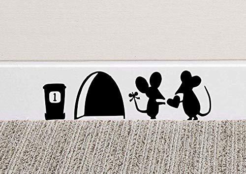 JUNMAONO Abnehmbare Wandaufkleber Maus-Loch Wand Kunst Aufkleber Waschen Vinyl Aufkleber Mäuse Home...