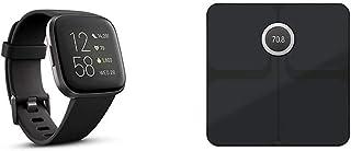 Fitbit Versa 2 Alexa搭載 スマートウォッチ Black/Carbon +スマート体重計 Aria2 Blackセット【日本正規品】