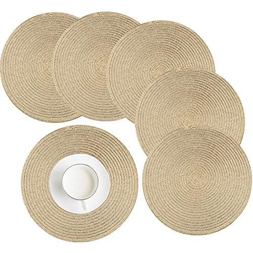 HEYOMART Place Mat, Round Woven Placemats Set of 6 Heat-resistant Non-slip Washable Braided Cotton Dinner Table Mats for Dining, Kitchen Table 38cm (Gold)