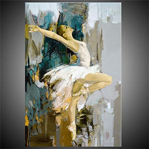 Pintura Al Óleo Pintada A Mano Sobre Lienzo,Resumen Figura Pinturas Bella Bailarina De Ballet En Blanco,Moderna Vintage Hechos A Mano La Pared De Arte Decorativo Para La Sala De Estar Dormitorio Ofic