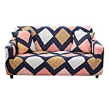 HOTNIU Stretch Sofa Cover Printed Couch Covers for 2 Cushion Couch Slipcovers for Sofas Loveseat Armchair Elastic Universal Furniture Protector with One Free Pillowcase (2 Seat, Geometric color block)