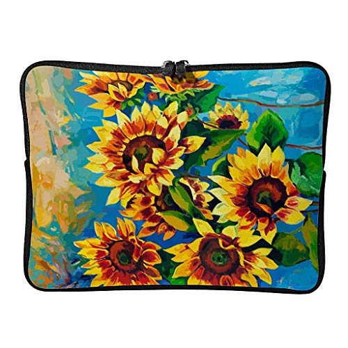 Sun Flower Laptop Case Bag Waterproof Lightweight Multi-Functional Stationery 10-17 Inch for Audlts White 15 Zoll