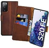 Suncase Book-Style Hülle kompatibel mit Samsung Galaxy S20 FE Leder Tasche (Slim-Fit) Lederhülle Handytasche Schutzhülle Hülle mit 3 Kartenfächer in antik-Coffee