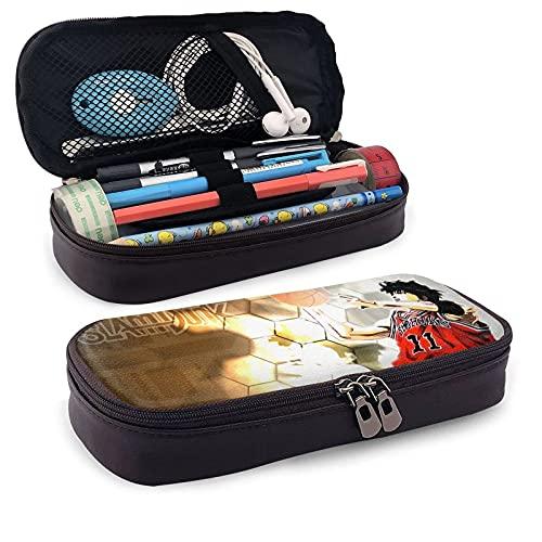 kafeibei Slam Dunk Pencil Case Wiederverwendbare Stifttaschen Klassischer Briefpapierbeutel Leder-Kosmetiktasche Einfacher Briefpapierbeutel mit doppeltem Reißverschluss Ziehen Sie 8x1,5x3,5 Zoll