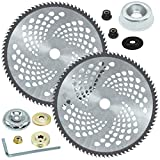 CZS 2 Pack 10' x 80T Carbide Tip Brush Cutter Trimmer Blades for Cutter, Trimmer, Weed Eater (2 Pack Different Adapter Kit Included)