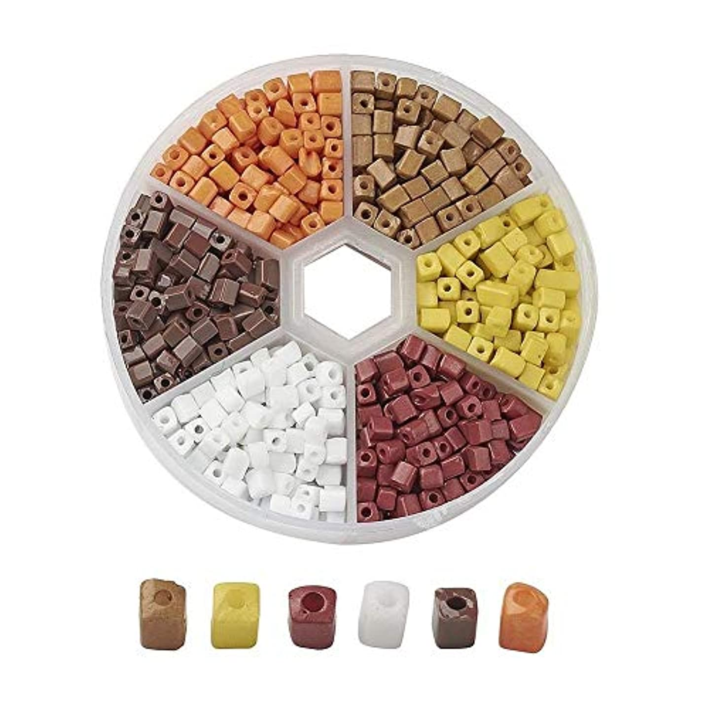 AMZ Beads - 1,000+ Mixed 6/0 (3-7mm) Assorted Square Cube Loose Spacer Seed Beads for Jewelry Making Craft DIY Projects Necklaces Bracelets - Includes Storage Container Case! (Browns)