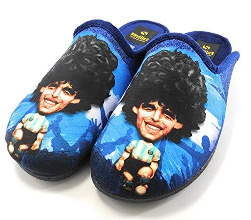 Sevillas 9732 – Pack Zapatillas Casa Hombre Divertidas y Calcetin   Novedad en Chancletas Confortables para el Hogar   Chanclas Maradona   Azul (42 EU, 42)