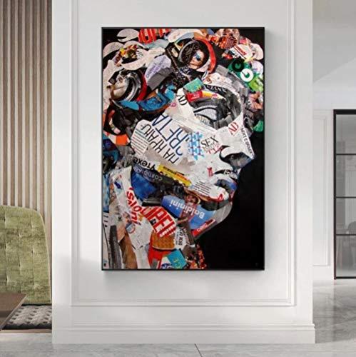 yyygg Kit de Pintura de Diamantes 5D por números Gente de Retrato de Color Diamante Bordado Craft Decoración del hogar Sin Marco 40 x 50 cm