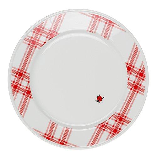 Feinkost Käfer GmbH 103151 Geschirr, Porzellan, Weiß/Rot, 24 x 24 x 3 cm, 1 Einheit
