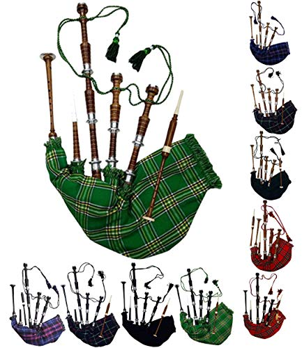 AAR Scottish Full Size Bagpipe Rosewood or Black Finish with Silver Plain Mounts Free Tutor Book, Carrying Bag, Drone, Reeds (Brown,National Green)