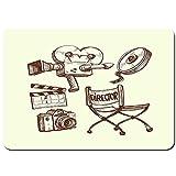 Wdoci Antideslizante Alfombra De Baño,Fotografía y Cine Vintage ambientado en Sketch Art Style Director Shooting,Alfombra de Cocina Alfombra Mascota,Alfombras de Ducha 80x60cm