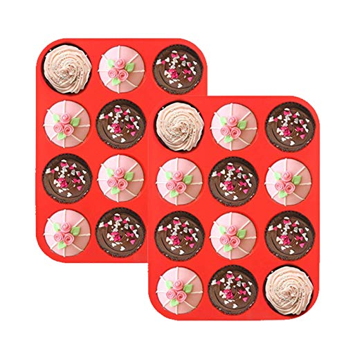 Jsdoin 2 Pack Silicone Muffin Tray for 12 Muffins, Non Stick Cupcake Baking Pan, 3cm Deep Silicone Donut Molds Muffin Pan to Make Cupcakes, Pudding Biscuit