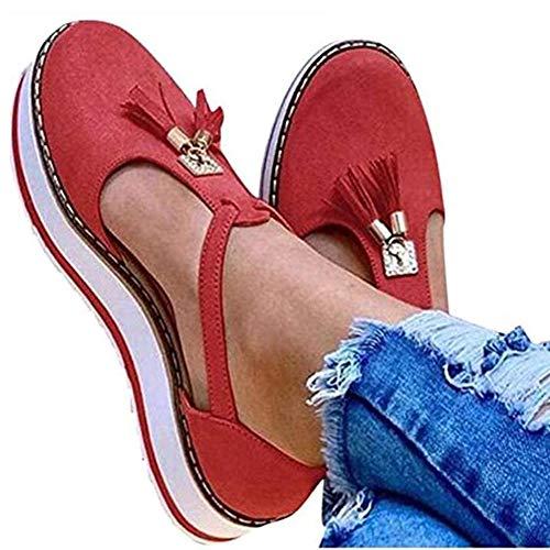 OcaseQ Sandalias Plataformas para Mujer Sandalias Cierre Planas Verano con Correa en El Tobillo Borla Moda Antideslizante Alpargatas Zapato de Playa,Rojo,35