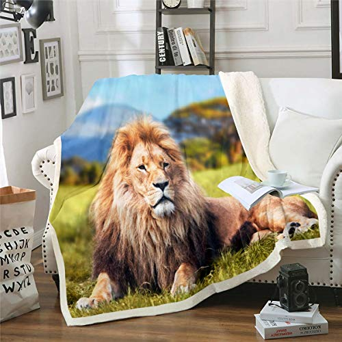 Lion Decke 3D Wildtier Vlies Wohndecke für Sofa Couch Bett Wildlife Stil Dekor Kuscheldecke Atmungsaktives afrikanisches Grünland Plüsch Flanell Fleecedecke Raumdekor Couchdecke 220x240cm